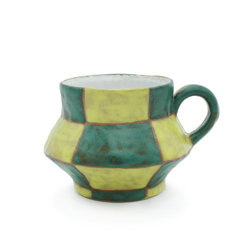 Green and Yellow Checkered Mug
