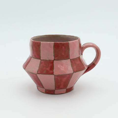 Large Checkered Mug Pink and Cinnamon