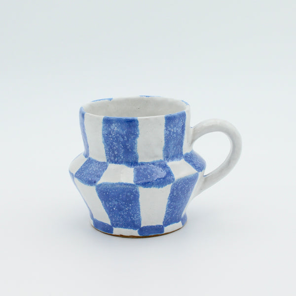 Checkered Mug Blue and White