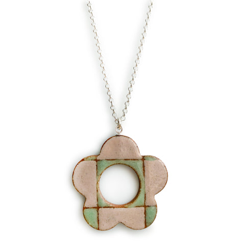 Checkered Daisy Pendant Pastel Pink and Green
