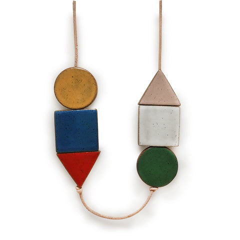 Long Shapes Necklace on Natural Leather: Multi Colour