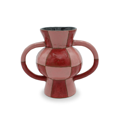 Pink and Cinnamon Checkerboard vase