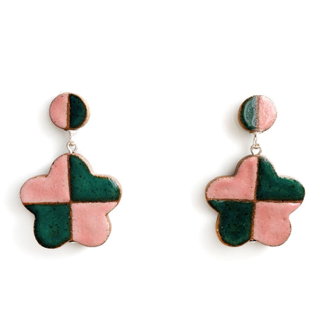 Checkered Daisy Earrings Watermelon