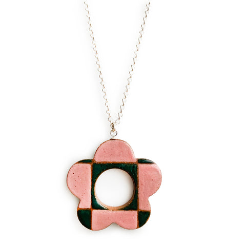 Checkered Daisy Pendant Watermelon