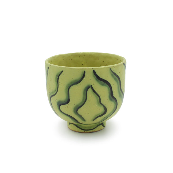 Yellow Cup with Copper Wiggles