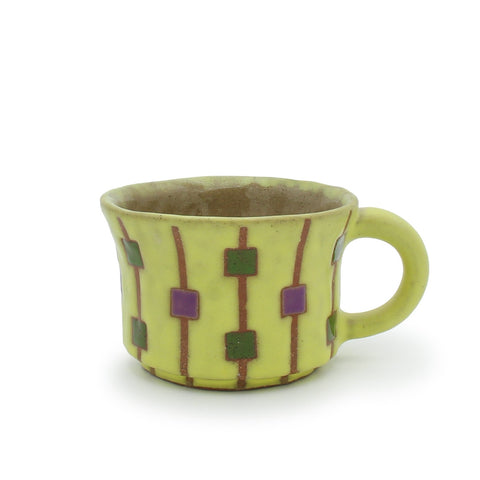 Short Mug with Squares and Stripes