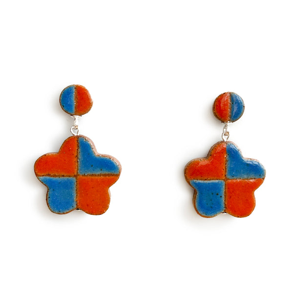 Checkered Daisy Earrings Red and Blue