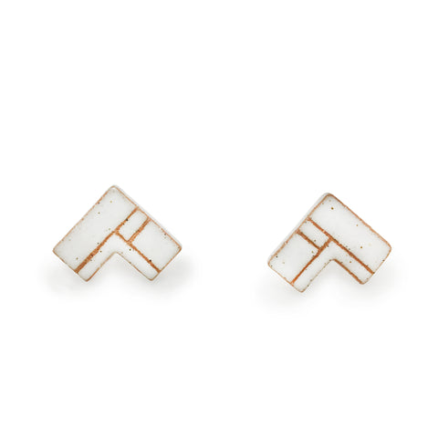 Corner Quilt White Earrings