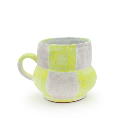 Pink and Yellow Checkered Mug