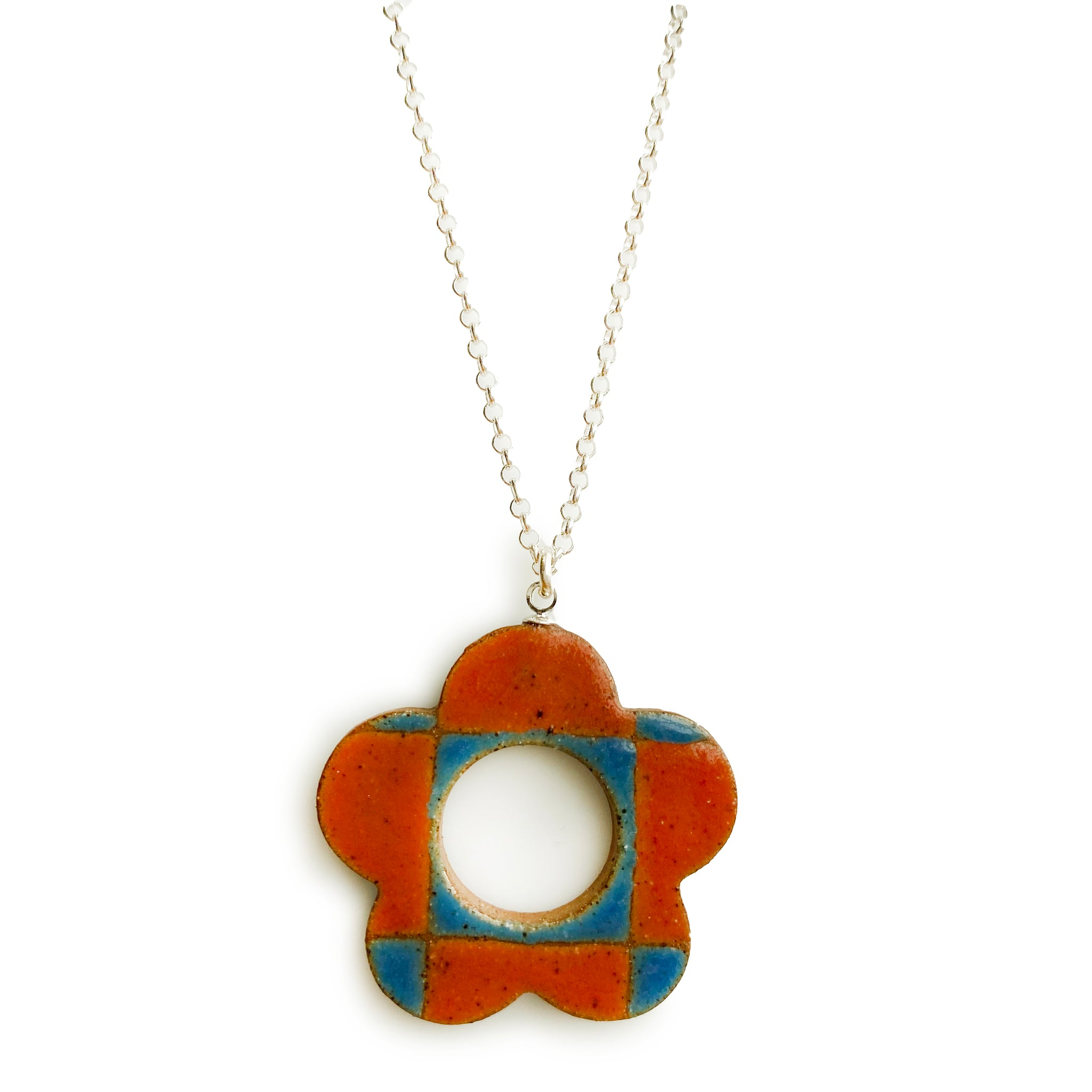 Checkered Daisy Pendant Blue and Red