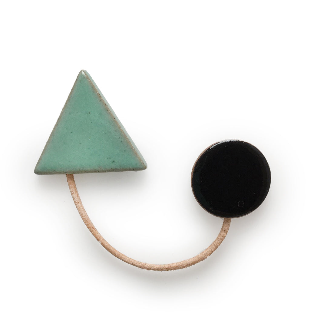 Paired Shapes Brooch: Bermuda and Black