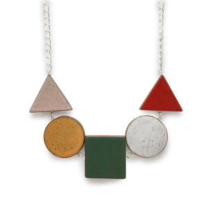 Short Stacked Shapes Necklace: Multi Colored