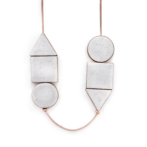 Long Shapes Necklace on Natural Leather: White