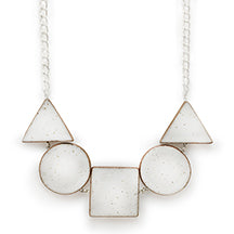 Short Stacked Shapes Necklace: White