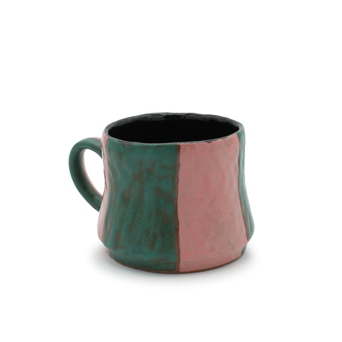Wide Stripe Mug Teal and Pink