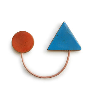 Paired Shapes Brooch: Neon Blue and Cherry Red
