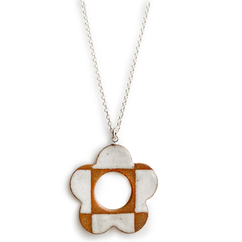Checkered Daisy Pendant White