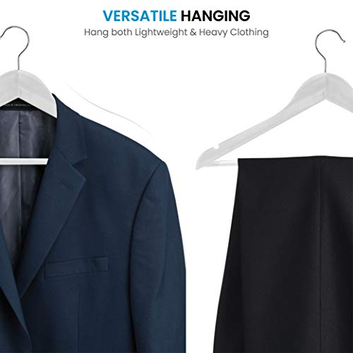 SUNFINE HANGER---High-Grade Wooden Shirt Hangers 20 Pack with Non Slip Pants Bar - Smooth Finish Solid Wood Coat Hanger with 360° Swivel Hook and Precisely Cut Notches for Camisole, Jacket, Pant, Dress Clothes Hangers