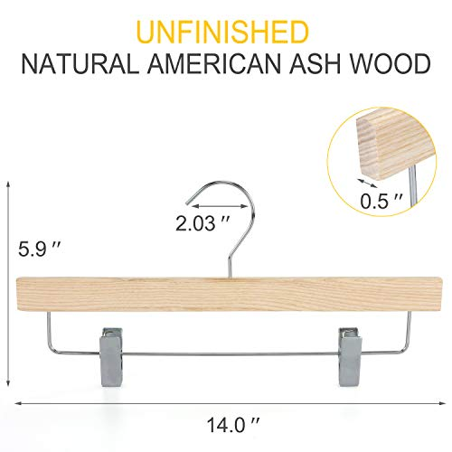 TOPIA HANGER Unfinished Natural Wooden Pants Hangers, High-Grade American Ash Wood Skirt Hanger, Pants Slacks with Metal Anti-Wrinkle Rubber Clips, 10pcs Pack-CTS02