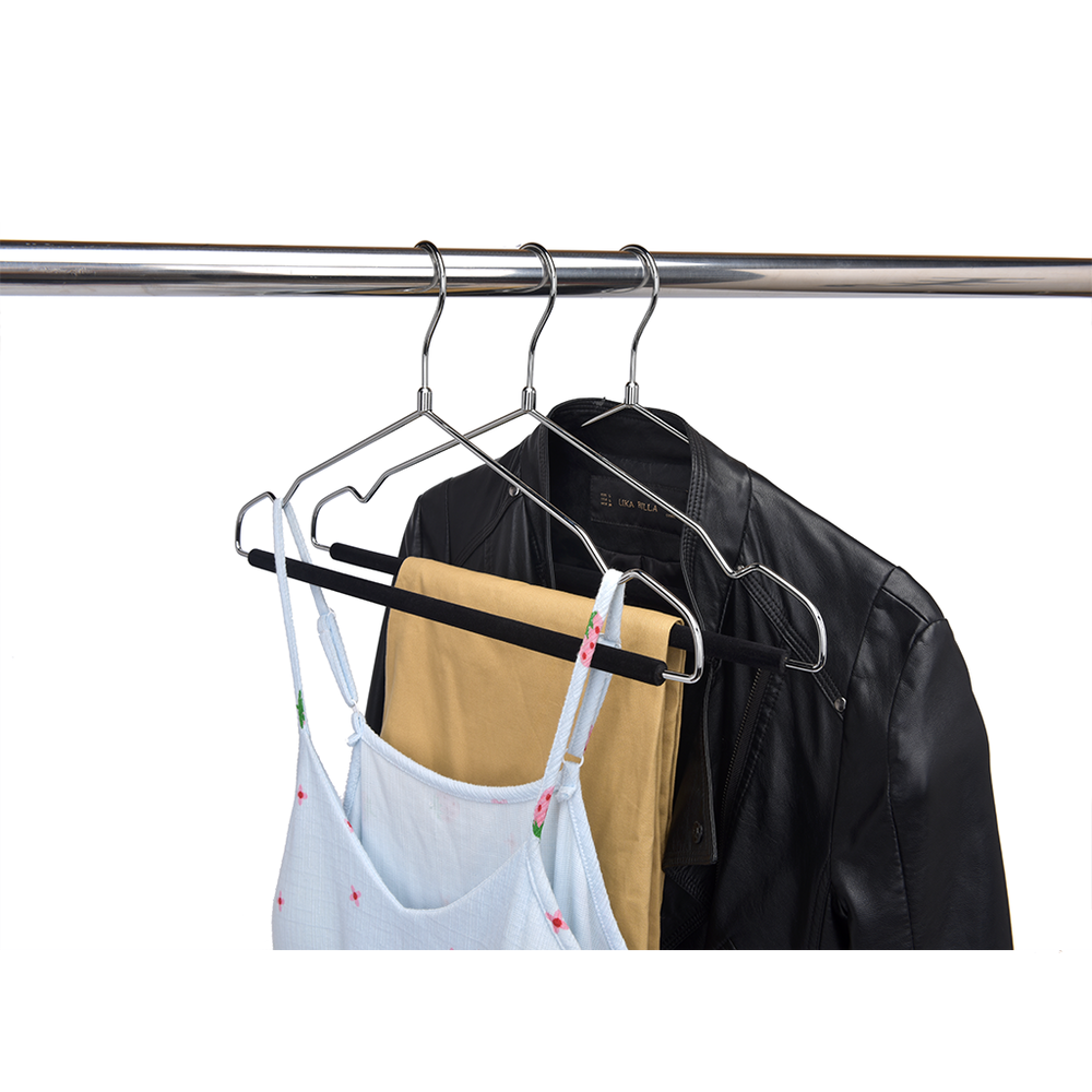 Shiny Chrome Metal Hanger with Flock Pant Bar