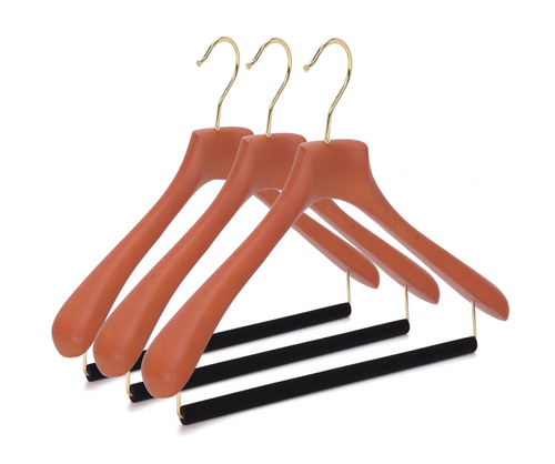 Quality Luxury Curved Wooden Suit Hangers  For Coats And Pants With Velvet Bar Matte Butter Scotch Finish