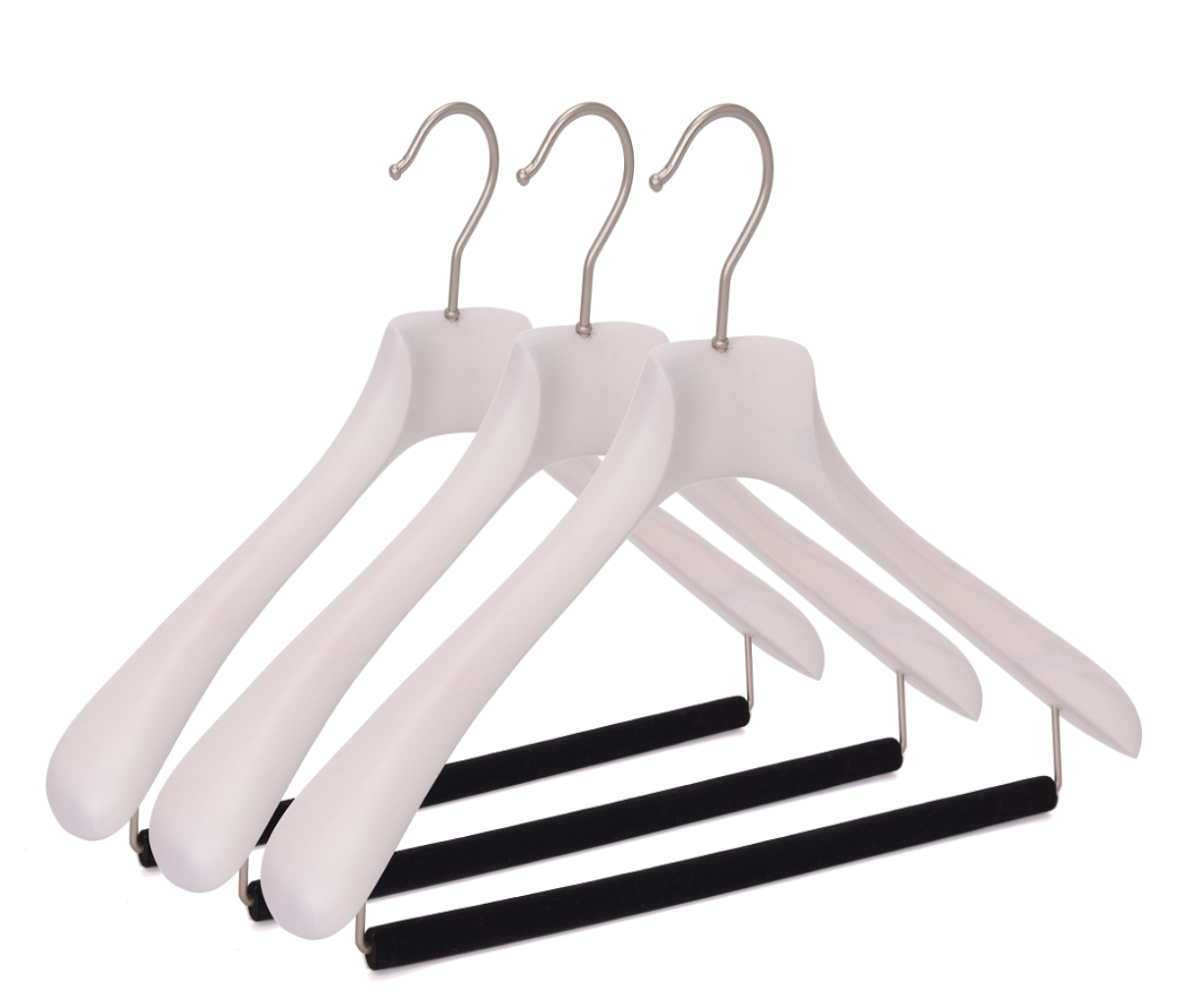 Quality Luxury Curved Wooden Suit Hangers  For Coats And Pants With Velvet Bar Matte White Wash Finish
