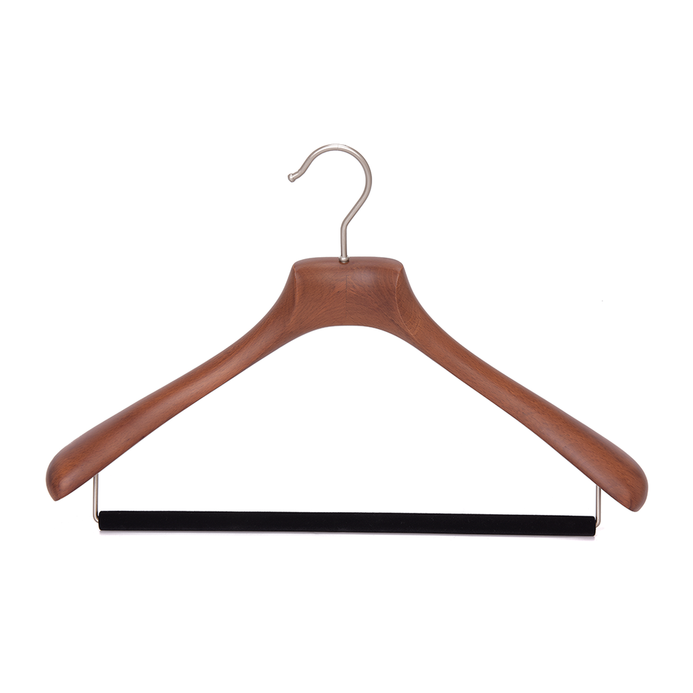 Quality Luxury Curved Wooden Suit Hangers  For Coats And Pants With Velvet Bar Matte Walnut Finish