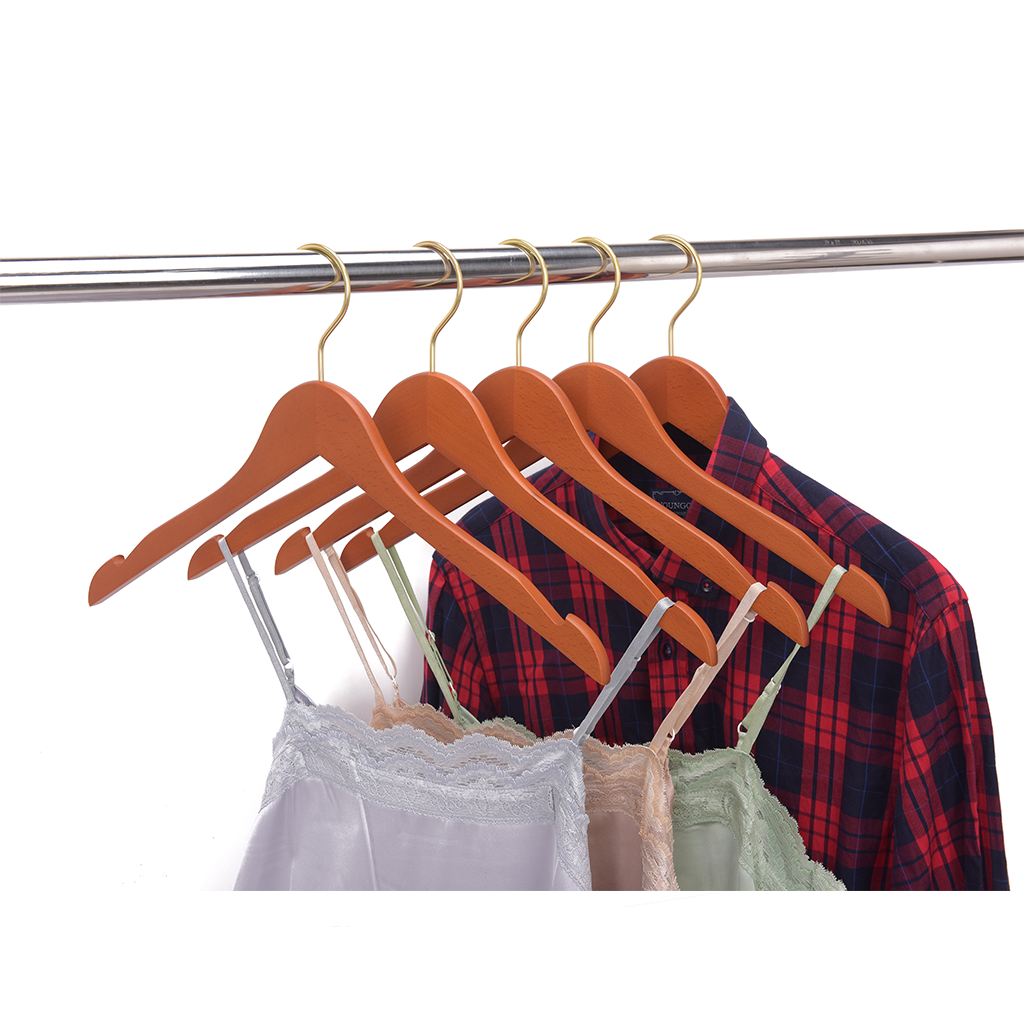 High-Grade Beech Wood Shirt Hanger Matte Butter Scotch Finish