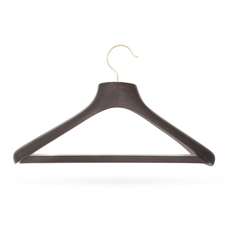 Quality Luxury Curved Wooden Suit Hangers Wide Wood Hanger for Coats and Pants with Velvet Bar Dark Mahogany Finish