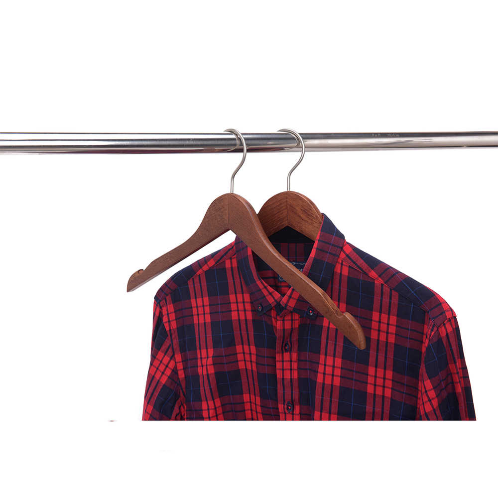 High-Grade Beech Wood Shirt Hanger Matte Walnut Finish