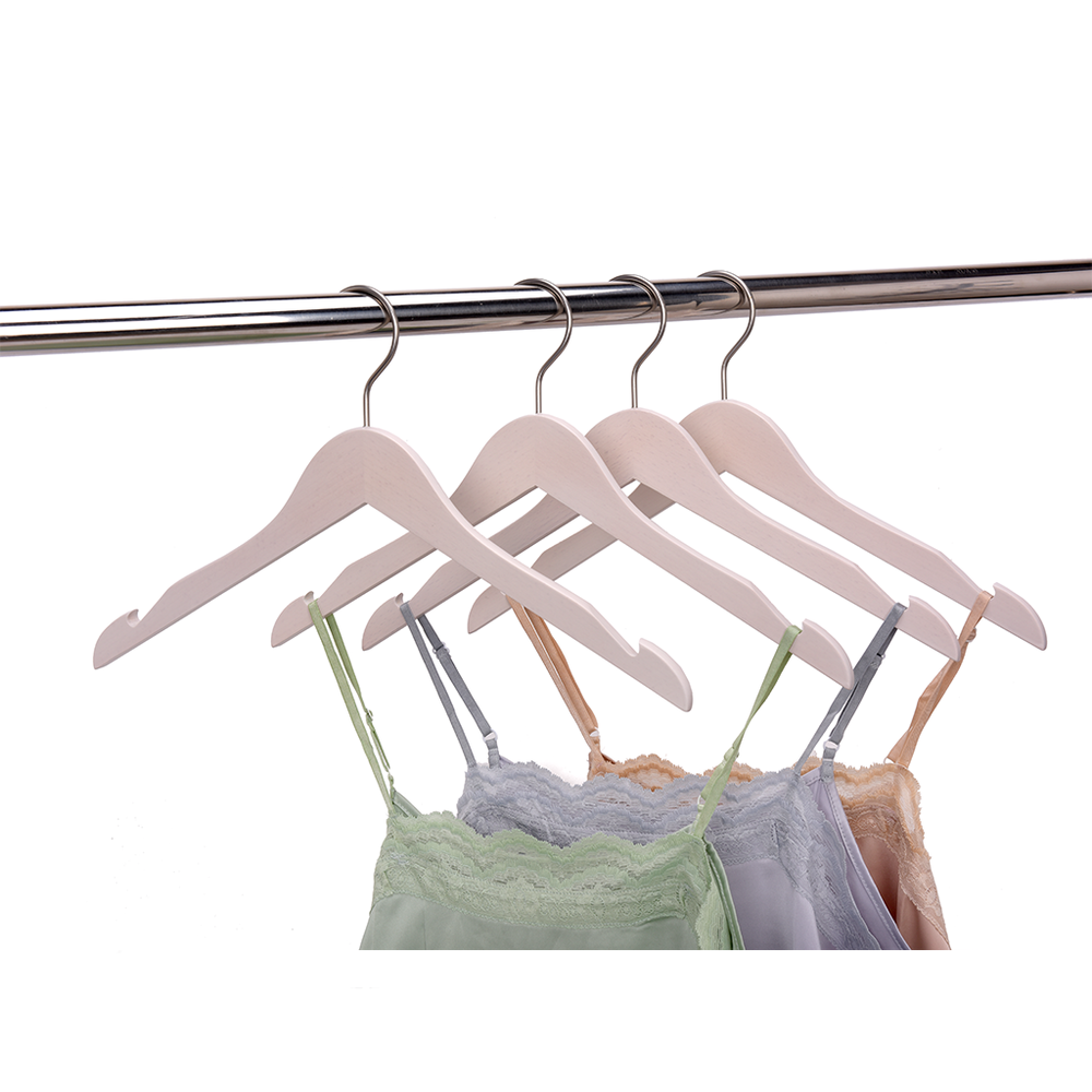 High-Grade Beech Wood Shirt Hanger Matte White Wash Finish