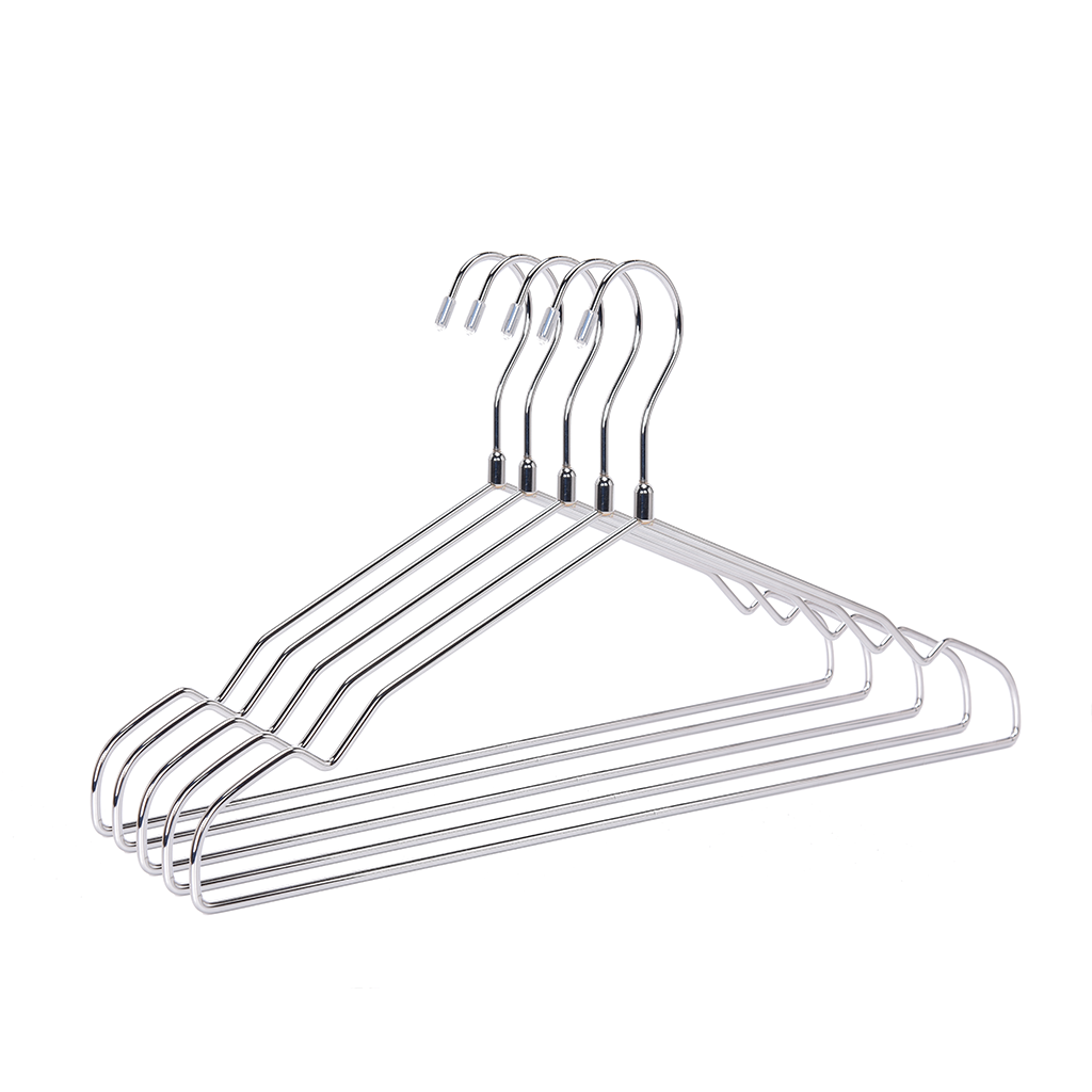 Shiny Chrome Metal Hanger Without Flock Pant Bar
