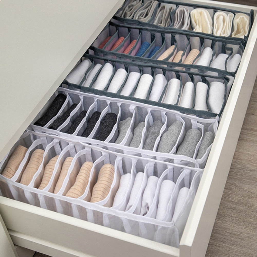 Dormitory closet organizer for socks home separated underwear storage box 7 grids bra organizer foldable drawer organizer