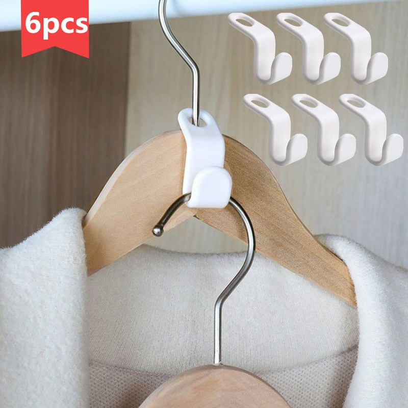 6pcs Multi-function Wardrobe Space-saving Stack Hanger Hook Coat Hook Plastic Closet Stack Hanger Rack Bedroom Storage Organizer