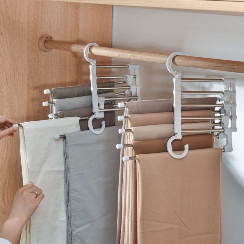 Multi-functional 5 in 1 Trouser Storage Rack Adjustable Pants Tie Storage Shelf Closet Organizer Stainless Steel Clothes Hanger