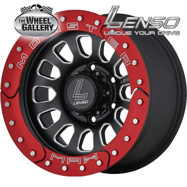 LENSO MAX MONSTER MATT BLACK RED RING 16x8.5 6/139.7  +0 WHEEL