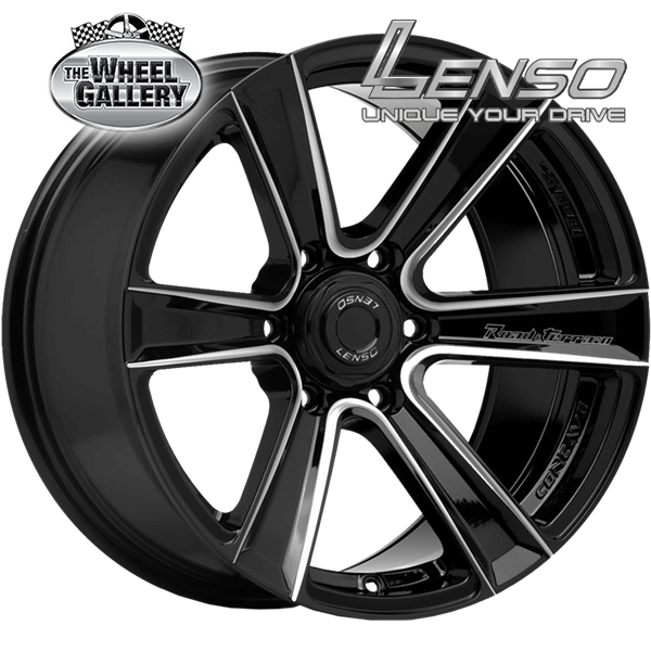 LENSO RTK GLOSS BLK CHAMFR LASER TEXT 20x9.5 6/139.7  +20 WHEEL
