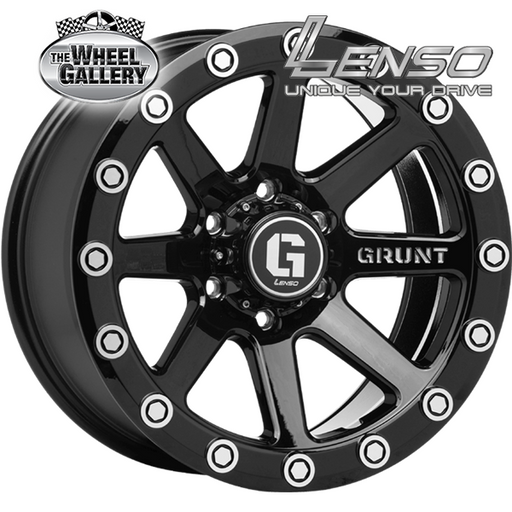 LENSO GRUNT G01 GLOSS BLACK MILLD RIVET 17x9 6/139.7  +15 WHEEL