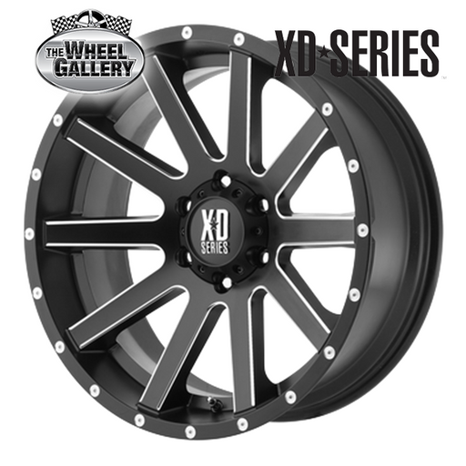 XD WHEELS XD818 HEIST SATIN BLACK MILLED 16x8 6/139.7  +10 WHEEL