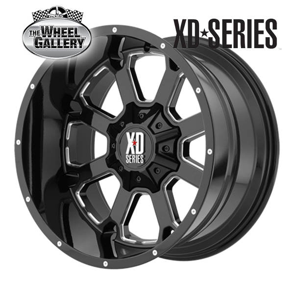 XD WHEELS XD825 BUCK 25 GLOSS BLACK MILLED 20x9 8/165.1  +0 WHEEL