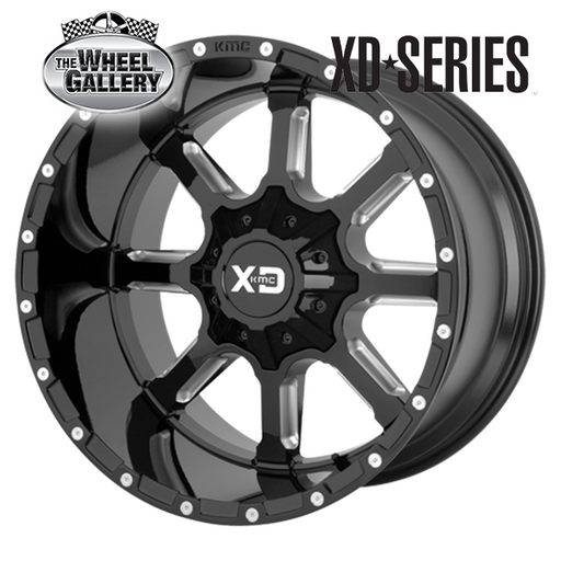 XD WHEELS XD838 MAMMOTH GLOSS BLACK MILLED 20x9 8/170  +18 WHEEL