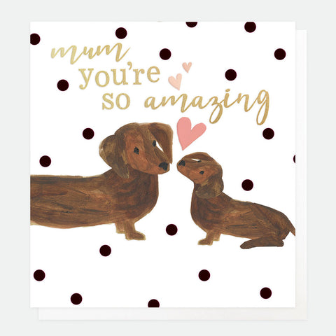 Polka Dot Two Dogs Mothers Day Card