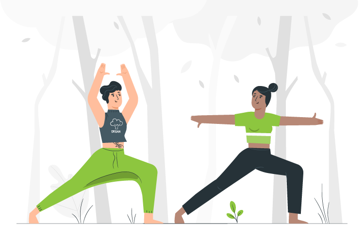 Two people practicing the art of yoga in nature!