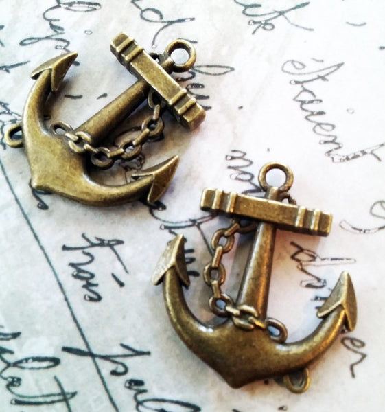 Anchors Charms Anchor Pendants Antiqued Bronze Anchor Charms 2 Pieces Jewelry Making Supply Scrapbooking Steampunk Vintage Style Nautical