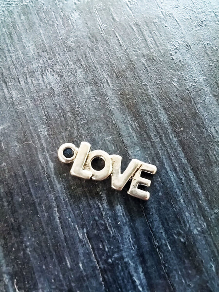 Word Charm Love Charm Love Pendant Antiqued Silver Word Pendant Love Word Silver Charm 1 piece 22mm/0.87""