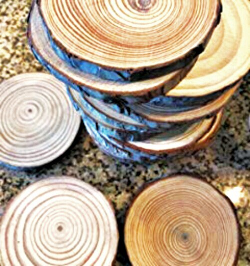 Wood Slices Pine Wood Circles Wood Burning Craft Wooden Coasters Rustic Wedding Decorations Tree Branch Slices Wood Discs 10 pcs 3.5-4""