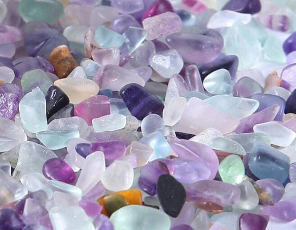 Natural Flourite Crystal Tumbled Chips Stone Assorted Mixed Colors Bulk Supply Lot 100 pc Set SMALL size about 5-9mm