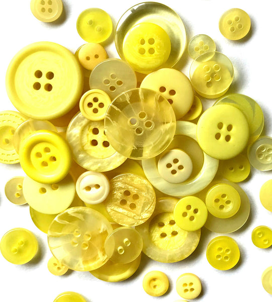 Assorted Buttons Mixed Yellow Colors and Sizes Resin Craft Supply Bulk Lot Set 50 pcs