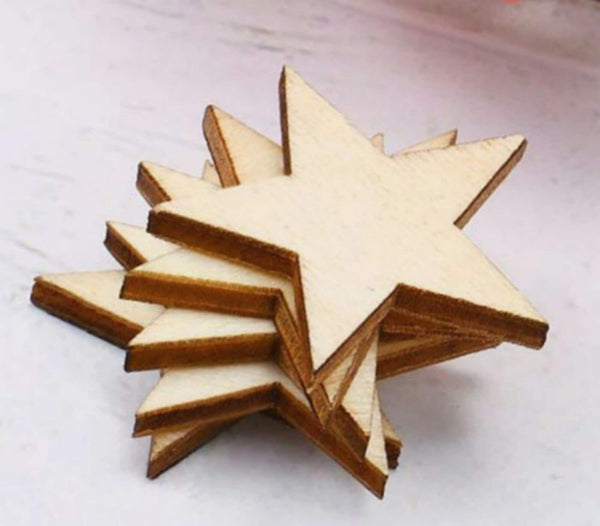 Wood Stars Laser Cut 1 inch Blank Unfinished 20 pcs Set Pieces Bulk Craft Supply Lot