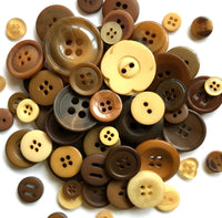 Assorted Buttons Mixed Brown Colors and Sizes Resin Craft Supply Bulk Lot Set 50 pcs
